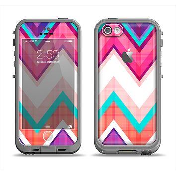 The Vibrant Teal & Colored Chevron Pattern V1 Apple iPhone 5c LifeProof Fre Case Skin Set