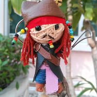 Jack Sparrow Pirate Of The Caribbean Voodoo String Doll Funny Keyring Keychain Key Ring Chain Charm Links Bag Car Deco MenMen Hip Goth Gift