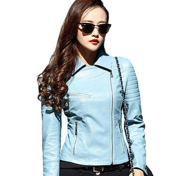 Women Faux Leather Jacket 2017 Motorcycle Biker Korean PU Leather Coat Long Sleeve Turn Down Collar Jaqueta De Couro