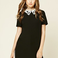 Crochet Collar Shift Dress