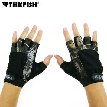THKFISH Durable Anti-Slip Fishing Gloves 5 Cut Finger Glove Outdoor Hunting Fishing Accessories Camouflage Fishing Gloves