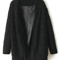 ROMWE | Romwe Buttonless Loose Faux Fur Black Coat, The Latest Street Fashion