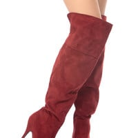 Red Faux Suede Zipped Up Platform Ankle Booties