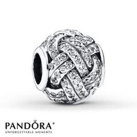 PANDORA Charm Sparkling Love Knot Sterling Silver