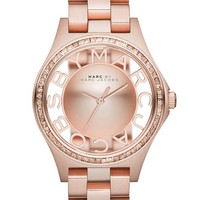 Women's MARC BY MARC JACOBS 'Henry Skeleton' Crystal Bezel Bracelet Watch, 34mm - Rose Gold