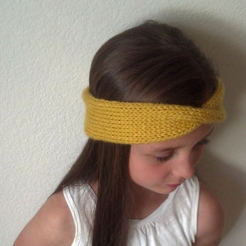 AMBER - Knit Turban Headband - Headwrap - MUSTARD - (more colors available)