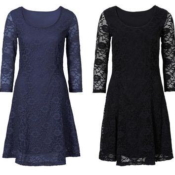 Womens Elegant Sexy Lace See Through Tunic Casual Dress Skater A-Line Party Dress Autumn Winter Vintage Dress