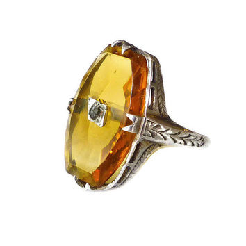 Art Deco Ring, Camphor Glass, Amber Topaz, Sterling Silver, Statement Ring, November Birthday, Antique Jewelry