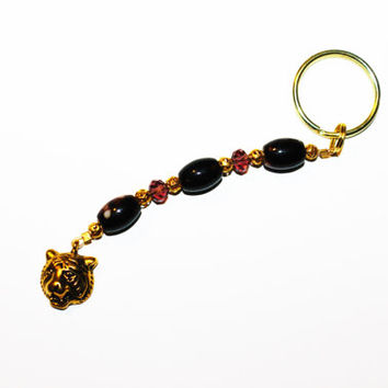 Beaded Keychain with Gold Tiger Charm
