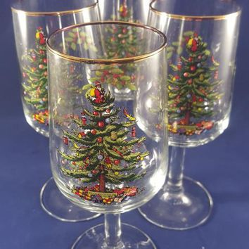Spode Christmas Tree Water Goblets with Gold Rim