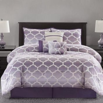 Mainstays Ombre Fretwork 7-Piece Bedding Comforter Set - Walmart.com
