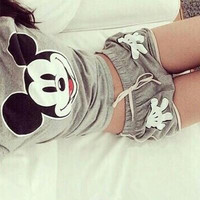 SIMPLE - Women Cute Summer Mickey Mouse Design T-Shirt and Sports Shorts a10113