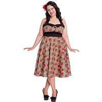 Hell Bunny Plus Rockabilly Charlie Dress in Leopard and Red Rose Print Party Dress