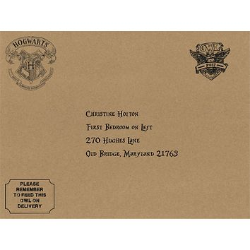 "Personalized 9""x12"" Envelope with Faux Wax Seal Sticker - Harry Potter Hogwarts School of Witchcraft and Wizardry - Perfect Add on to Diploma"