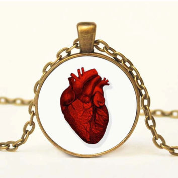 Red Anatomical Heart Art Pendant Altered Art Vintage Necklace Art Pendant Altered Art Jewelry