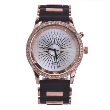 Jewelry Kay style Men's Rapper 7 LED Color Light Rose Gold Plated Black Band Watches WR 8368-7L RG