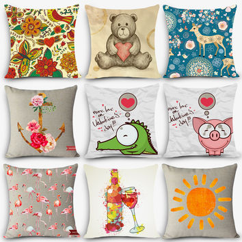 Cheap car seat linen cushion Nordic Vintage outdoor chair cushions home decor carton painting pillow MYJ-H9