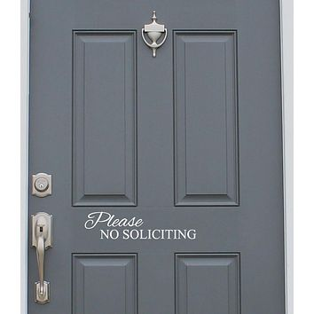 Please No Soliciting Door Sign Vinyl Decal