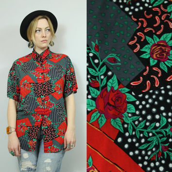 SALE - 90s - Red Black & White - Abstract - Rose Floral - Polka Dot - Paisley - Collar - Button Down Shirt
