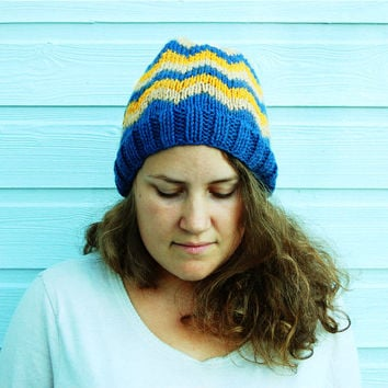 Warm winter hat - Chevron fair isle knit