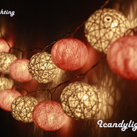 Cotton ball lights for home decor,party decor,wedding patio,20 pieces indoor rope&ball string lights bedroom fairy lights,light pinkl