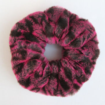 BIG Faux Fur Scrunchie, 90s Fuzzy Furry Hair Scrunchies, Pink Leopard Print, Hair Band, Ponytail Holder, Cuff Bracelet , Winter Accessories