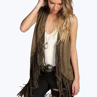 Sleeveless Fringed Suede Leather Coat