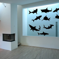 Wall Decal Set of Nine Sharks Vinyl Wall Decals 22304