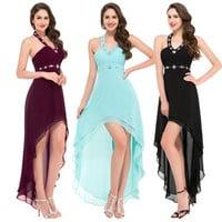 Grace Karin  Charm Halter High-Low Chiffon Bridesmaid Dress Evening Formal Ball Cocktail Prom Party Dress 8 Size US 2~16 GK000012