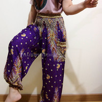 Elegant Peacock Boho Hippie Baggy Pants/ Harem Pants/ Aladdin Pants/ Genie Pants for Unisex (Purple)