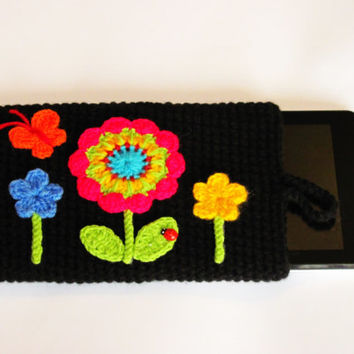 Crochet iPad cozy,iPad cover ,flower iPad case ,