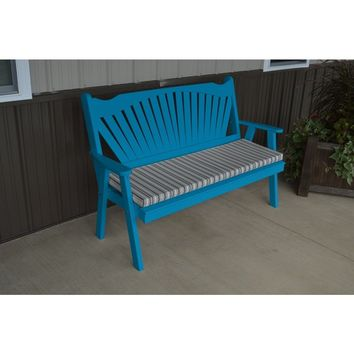 A & L Furniture Co. Yellow Pine 5' Fanback Garden Bench  - Ships FREE in 5-7 Business days
