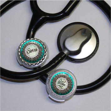 Feathers Stethoscope ID Tag, Custom name or monogram, Polka dots in 6 colors