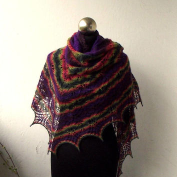 Multicolor hand knitted lace shawl