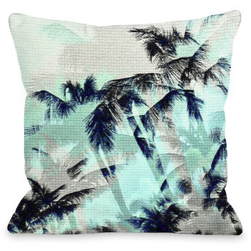 """Palm Tree Tile"" Outdoor Throw Pillow by OneBellaCasa, Turquoise, 16""x16"""