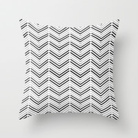 Black and White Chevron Pattern Throw Pillow by T30 Gallery
