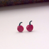 Cute red cherry polymer clay stud earrings