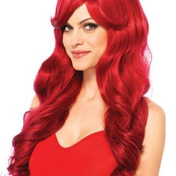 ESBI7E Long wavy wig with adjustable strap in RED