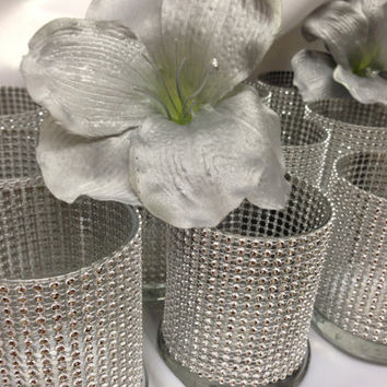 Set of 10 Bling Wedding or Shower Candle holders, Silver rhinestone