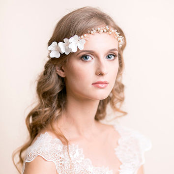 Bridal Hair Vine of Swarovski Pearls with Lace Blooms - Wedding Hair Vine - Bridal Headband - Wedding Headband - Flower Headband Delicate