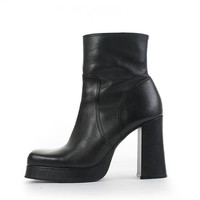 Platform Boots 9 STEVE MADDEN Boots Black Leather Ankle Boots Chunky Heel Boots Minimal 90s Vintage Boots Women's Size US 9 / Uk7 / Eur39-40
