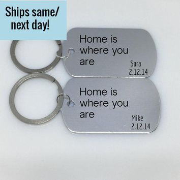 Home is Where You Are, Long Distance Relationship, Friendship Keychain, Long Distance Keychain, Any States or Country, Engraved Keychain