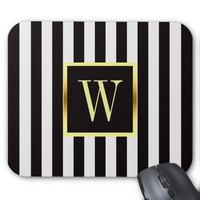 Black and White Stripes Faux Gold Frame Monogram Mouse Pad