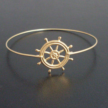Nautical, Ship Wheel Bracelet, Gold, Ship Steering Wheel Jewelry, Nautical Wheel Bangle Bracelet, Nautical Ship Jewelry, Boat Wheel Bracelet