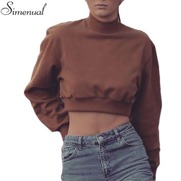 Turtleneck crop sweatshirt pullover women hoodies autumn winter 2016 clothing slim sexy short sweatshirts fashion new svitshot