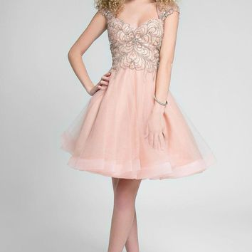 Terani Couture - Gorgeous Embellished Queen Anne Neck Short A-line Dress 1711P2230