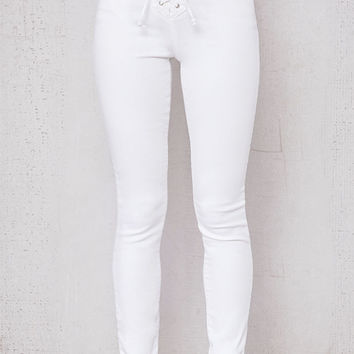 PacSun White High Rise Lace-Up Denim Jeans at PacSun.com