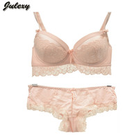 Julexy Intimate Barnd  New Push Up Women Bra Set ABC Cup Lace lingerie Set Embroidery Sexy Young Female Underwear Set