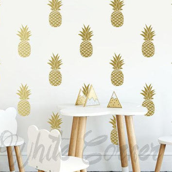 Pineapple Wall Decals - Pineapple Decals, Pineapple Decor, Pineapple Gift, Gift for Her, Wall Decor, Wall Stickers, Pineapple Wall Art ga11