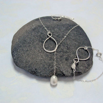 Infinity Set Jewelry, 925 Sterling Silver, Infinity with Freshwater Pearl Lariat Necklace and Bracelet, Bridesmaid Gift, Delicate Jewelry
